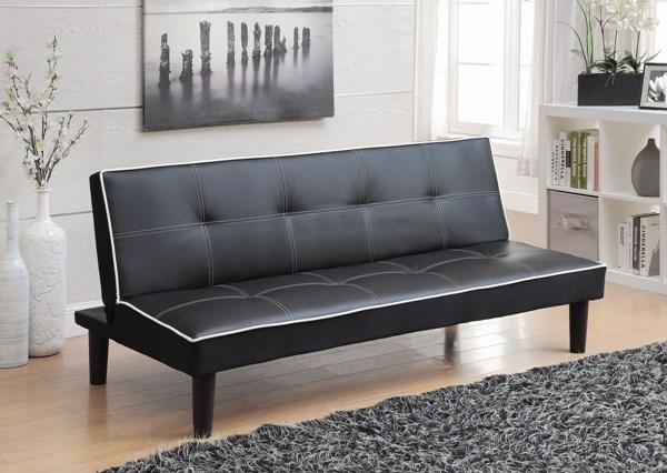 Elegant Black White Faux Leather Armless & Tufted Back Sofa Bed CST-550044