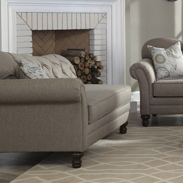 Carnahan Stone Grey Fabric Tufted Reverse Camel Back Chaise CST-550047