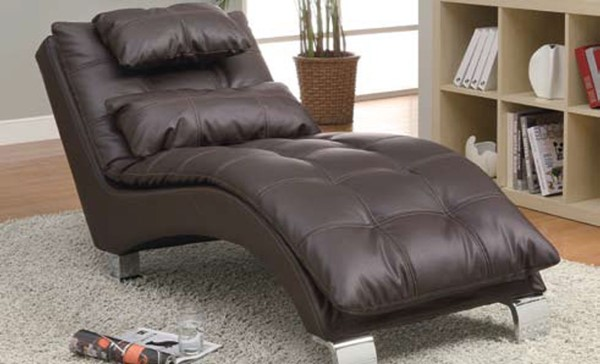 Contemporary Dark Brown Metal Leather Like Vinyl Chaise CST-550076