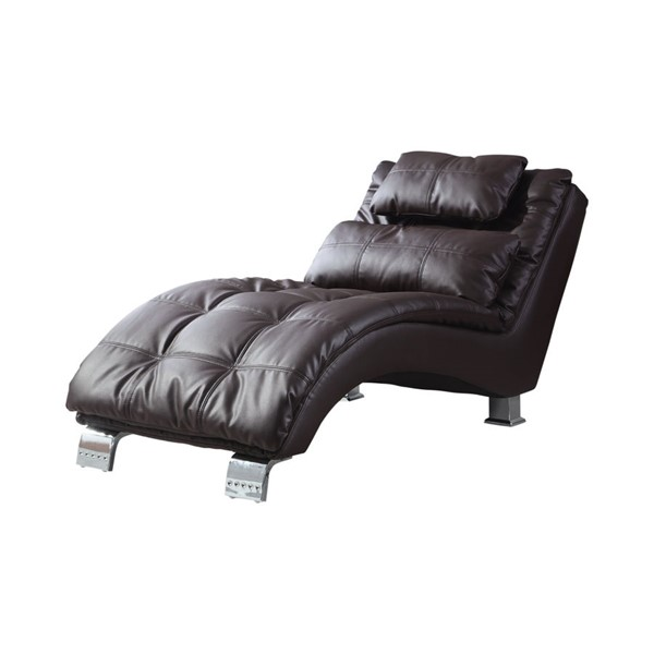Coaster Furniture Dark Brown Faux Leather Chaise CST-550076
