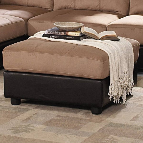 Claude Casual Latte Padded Microfiber Ottoman CST-551003