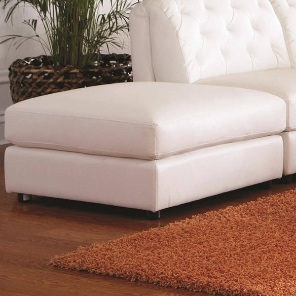 Quinn Contemporary White Bonded Leather Ottoman CST-551023