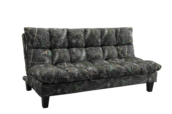 Woodland Camouflage Twill Pillow Top Side Storage Pocket Sofa Bed CST-551066