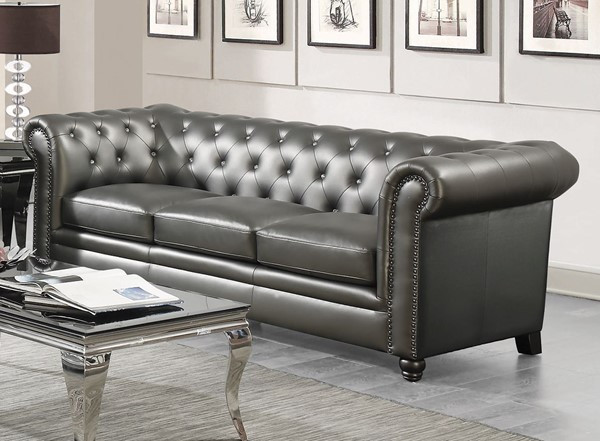 Coaster Furniture Roy Elegant Gunmetal Grey Faux Leather Solidwood Sofa CST-551091