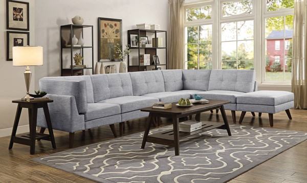 Coaster Furniture Churchill Grey 6pc Sectionals with Ottoman CST-55130-SEC-S-VAR1
