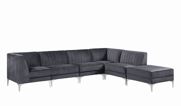 Coaster Furniture Cassandra Grey Velvet 6pc Sectional CST-55137-SEC-S1