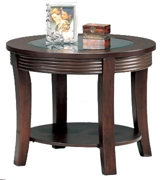Transitional Cappuccino Wood Glass Round End Table CST-5524