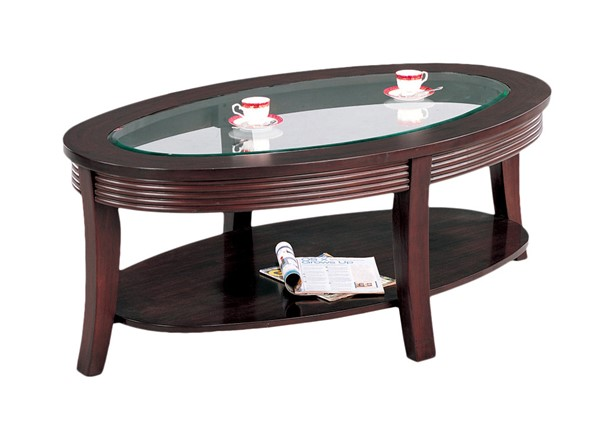 Coaster Furniture Cappuccino Wood Glass Coffee Table CST-5525