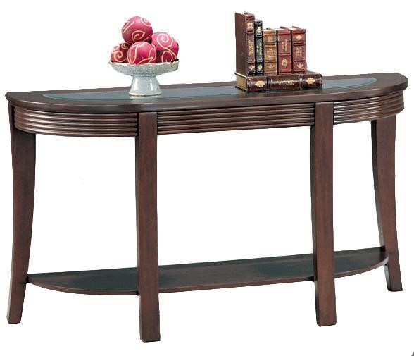 Transitional Cappuccino Wood Glass Shelves Sofa Table CST-5526