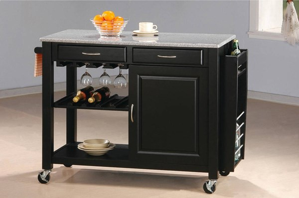 Casual Black Wood Granite Stemware Holder Kitchen Cart CST-5870