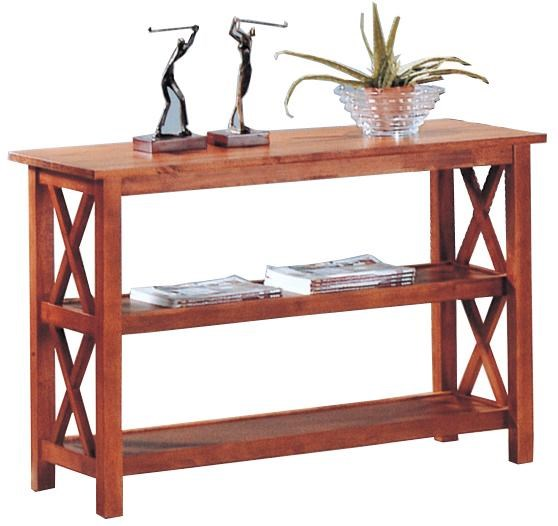 Medium Brown Wood Shelves Rectangle Sofa Table CST-5908