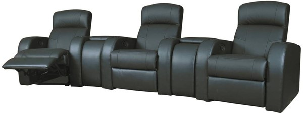 Cyrus Theater Contemporary Black Bonded Leather Sofa CST-60000