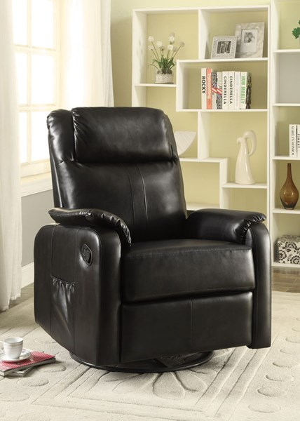 Brown Faux Leather Pillow Top Swivel Recliner CST-600042