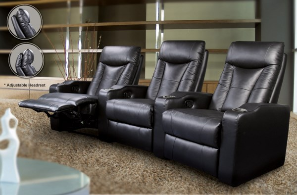 Pavillion Black Bonded Leather Track Arms Recliner CST-600130-4