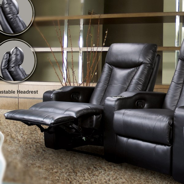 Pavillion Black Bonded Leather Right Recliner CST-600130XRR