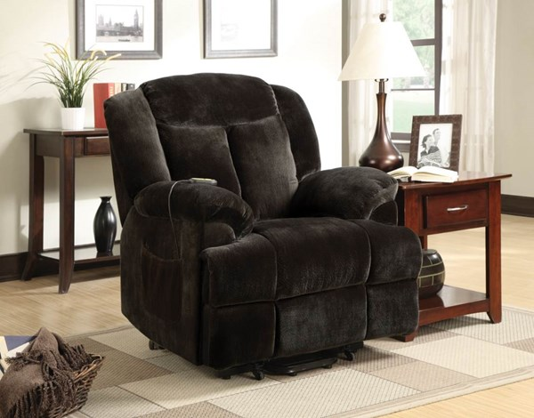 Casual Chocolate Fabric Cushion Back Power Lift Recliner CST-600173