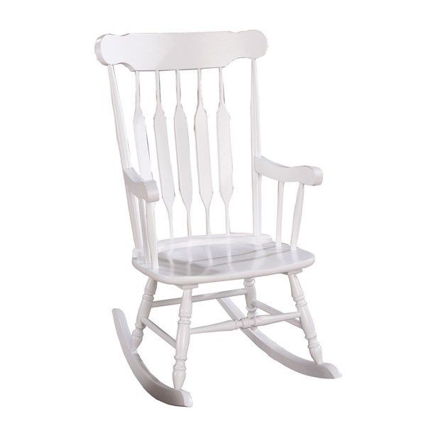 Traditional White Wood Rocking Chair w/Arm & Base Support CST-600174