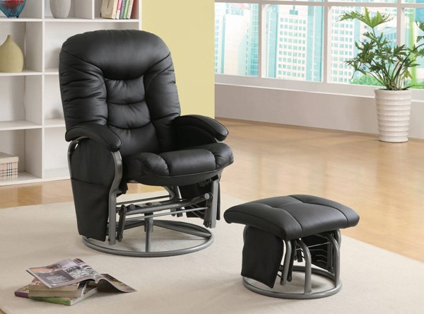 Coaster Furniture Black Faux Leather Glider with Ottoman CST-600227