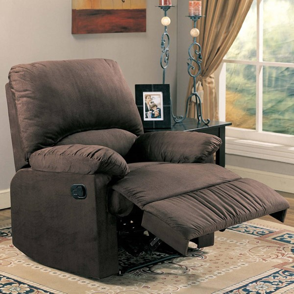 Casual Chocolate Microfiber Cushion Back Recliners CST-6002660