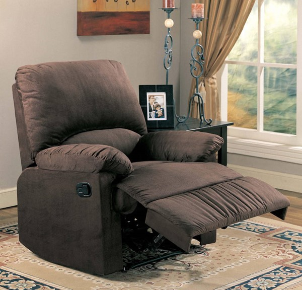 Chocolate Fabric Metal Cushion Recliner CST-600266