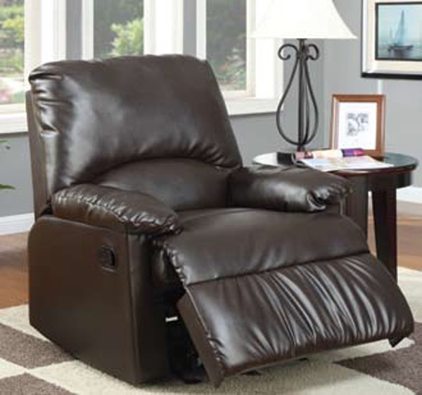 Brown Faux Leather Cushion Back Glider Recliner CST-600270