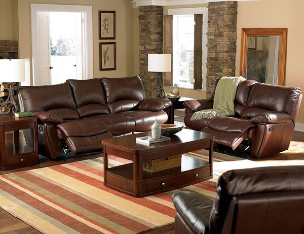 Clifford Transitional Dark Brown Leather  3pc Living Room Set CST-600281P-81-LR-S