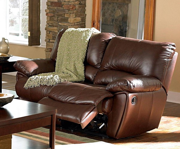 Clifford Transitional Dark Brown Leather Motion Love Seat CST-600282