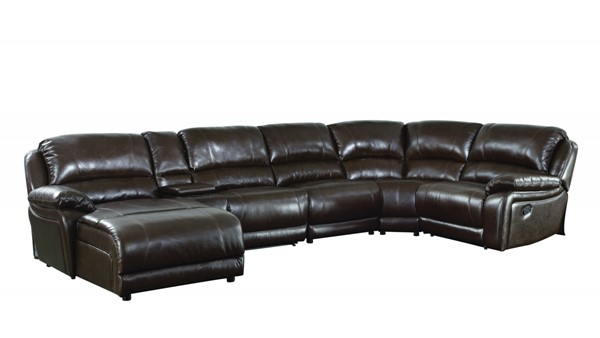 Mackenzie Casual Brown Chestnut Leather 6pc Sectional CST-600357
