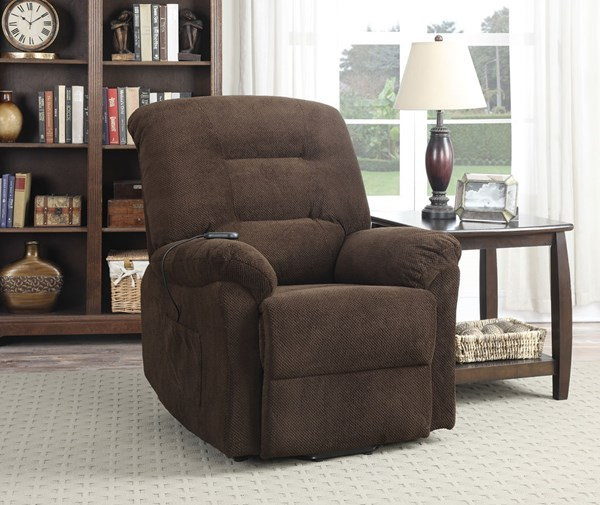 Chocolate Fabric Power Lift Recliner CST-600397