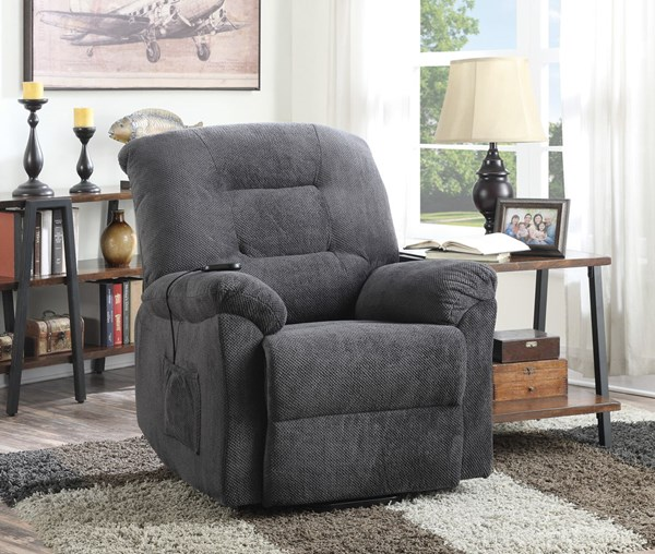 Charcoal Fabric Power Lift Recliner CST-600398