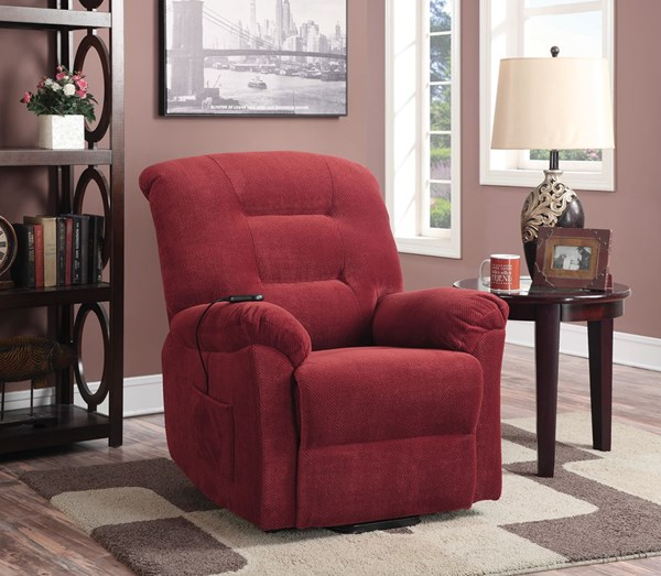 Brick Red Fabric Power Lift Recliner CST-600400