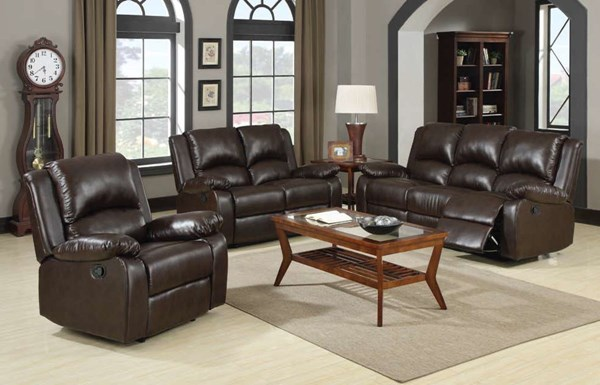 Boston Casual Brown Leatherette 3pc Living Room Set CST-600971-S