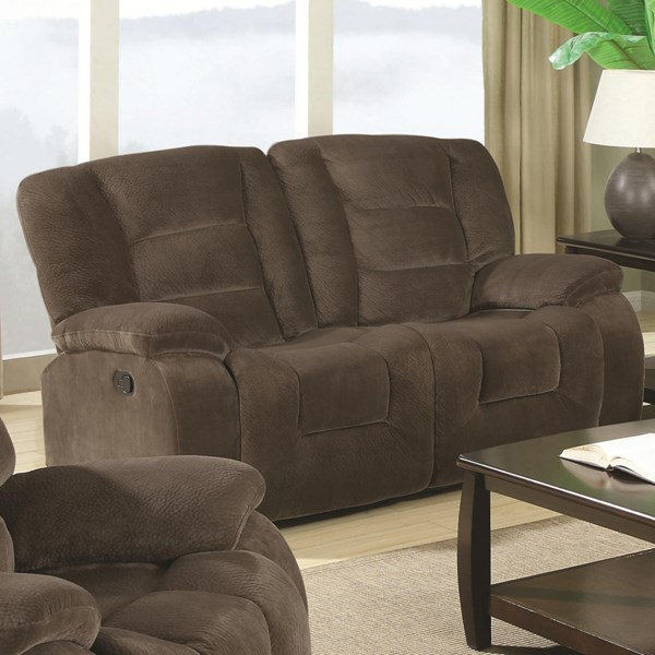 Charlie Transitional Brown Sage Fabric Motion Loveseat CST-600992