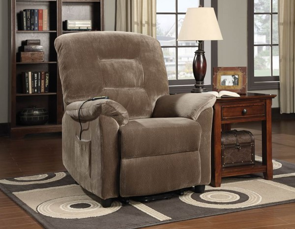 Casual Brown Upholstery Motion Fabric Power Lift Recliner CST-601025