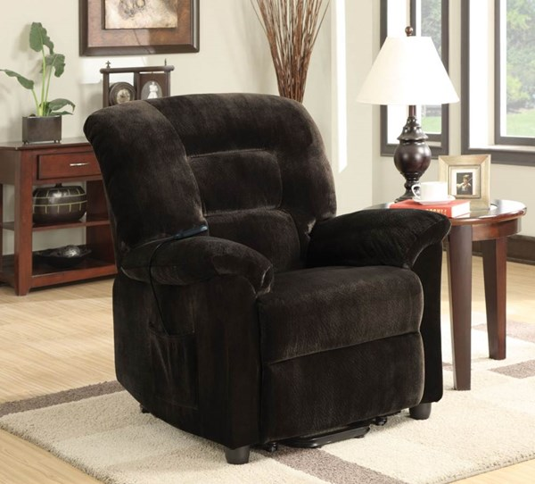 Casual Chocolate Upholstery Motion Fabric Power Lift Recliner CST-601026