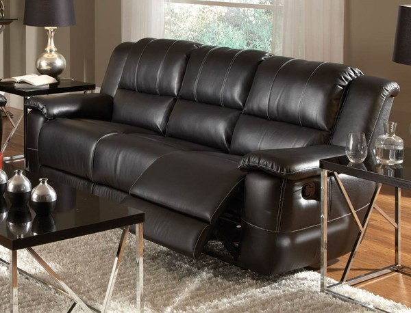 Lee Motion Black Bonded Leather Sofa CST-601061