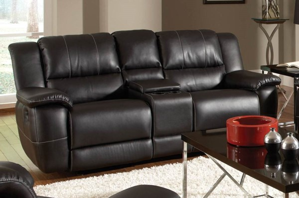Lee Motion Black Bonded Leather Loveseat CST-601062