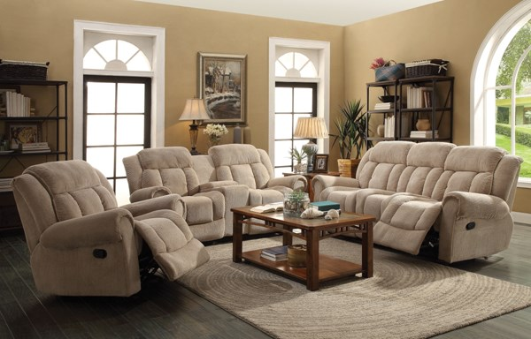 Reige Motion Textured Chenille 3pc Living Room Sets CST-601591-VAR