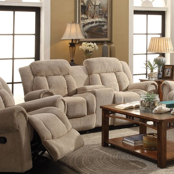 Reige Motion Taupe Textured Chenille Loveseat w/Console CST-601592