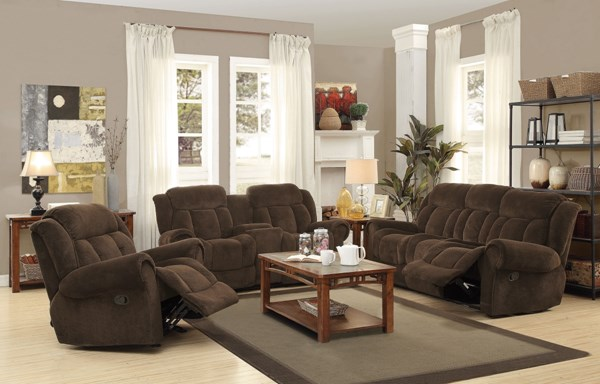 Reige Motion Chocolate Textured Chenille 3pc Living Room Set CST-601594-95-96
