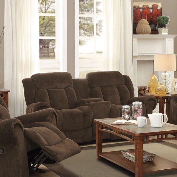 Reige Motion Chocolate Textured Chenille Loveseat w/Console CST-601595