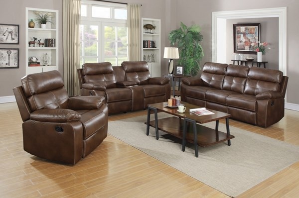 Damiano Brown Faux Leather 3pc Living Room Set CST-60169-LR-S1