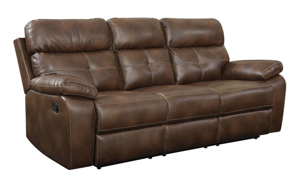 Damiano Brown Faux Leather Padded Arms & Tufted Back Motion Sofa CST-601691
