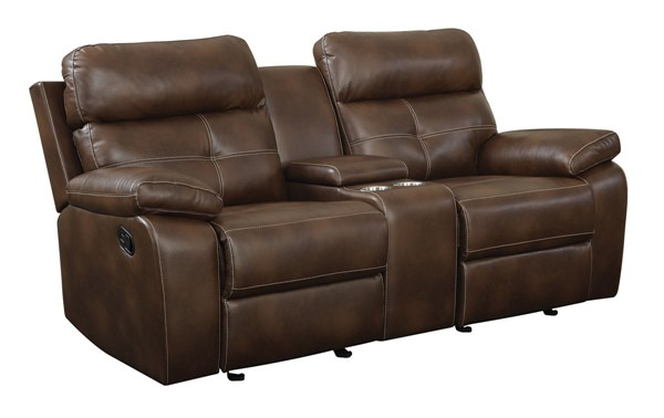 Damiano Brown Faux Leather Motion Loveseat CST-601692