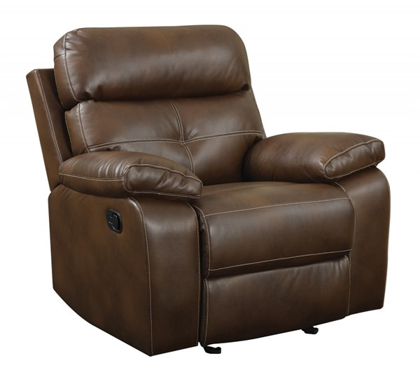 Damiano Brown Faux Leather Padded Arms & Tufted Back Recliner CST-601693