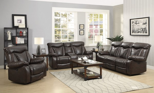 Zimmerman Dark Brown Faux Leather 3pc Living Room Sets CST-60171-LR-S