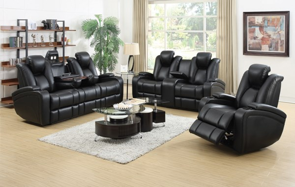Delange Black Faux Leather 3pc Living Room Set CST-60174P-LR-S1