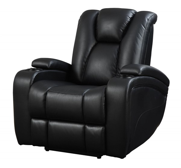 Delange Black Padded Leatherette Adjustable Headrest Power Recliner CST-601743P