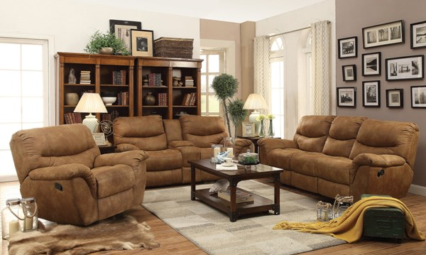 Hancox Motion Light Brown Microfiber Living Room Set CST-601761-BNDL