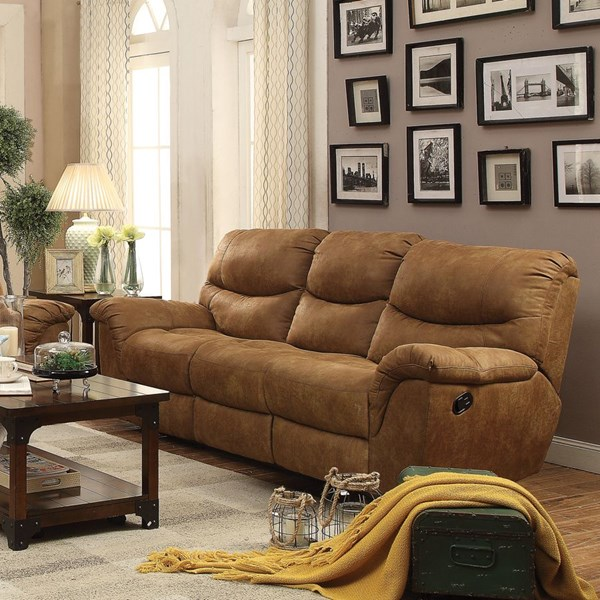 Hancox Motion Light Brown Microfiber Power Sofa CST-601761P